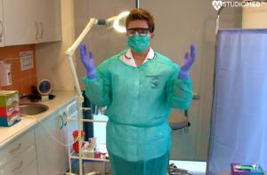 Jak zakładać strój ochronny przy badaniach, jak się zabezpieczać? Link do filmu YouTube